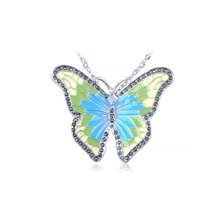 Citrus Green Lime Yellow Enamel Wing Painted Butterfly Costume Pendant Necklace