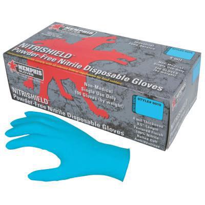 NitriShield Gloves, Rolled Cuff, Small, Blue