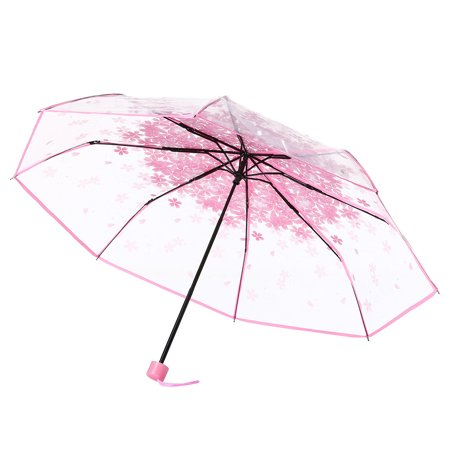 BEAD BEE Transparent Clear Umbrella Cherry Blossom Mushroom Apollo Sakura Umbrella Pink