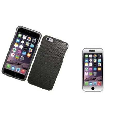 Insten Carbon Fiber Hard Case For iPhone 6s Plus / 6 Plus - Gray/Black (with Shatter-Proof Tempered Glass LCD Protector)