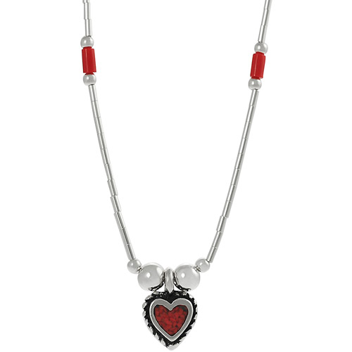 Brinley Co. Created Red Coral Sterling Silver Heart Pendant, 16""