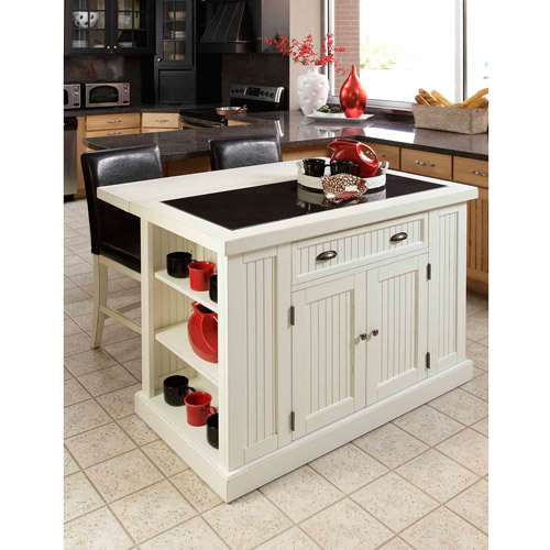 Home Styles Nantucket Kitchen Island, Distressed White