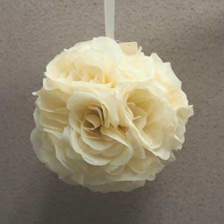 Silk Flower Kissing Balls Wedding Centerpiece, 6-Inch, Ivory (Kissing Ball Centerpieces)