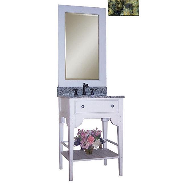 Kaco International 340-2400-W-GN Dover 24 inch Vanity with Cottage White Krylon Finish and Green Granite Top