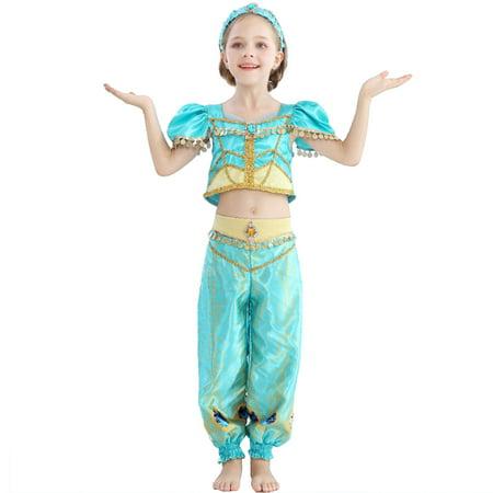 Dress Up Like A Baby For Halloween (Princess Dress Up Costumes Tolddler Halloween Costume 4 Pcs Outfit Aladdin Jasmine Princess Baby & Toddler Costumes Princess Dress with Cloak & Hair)