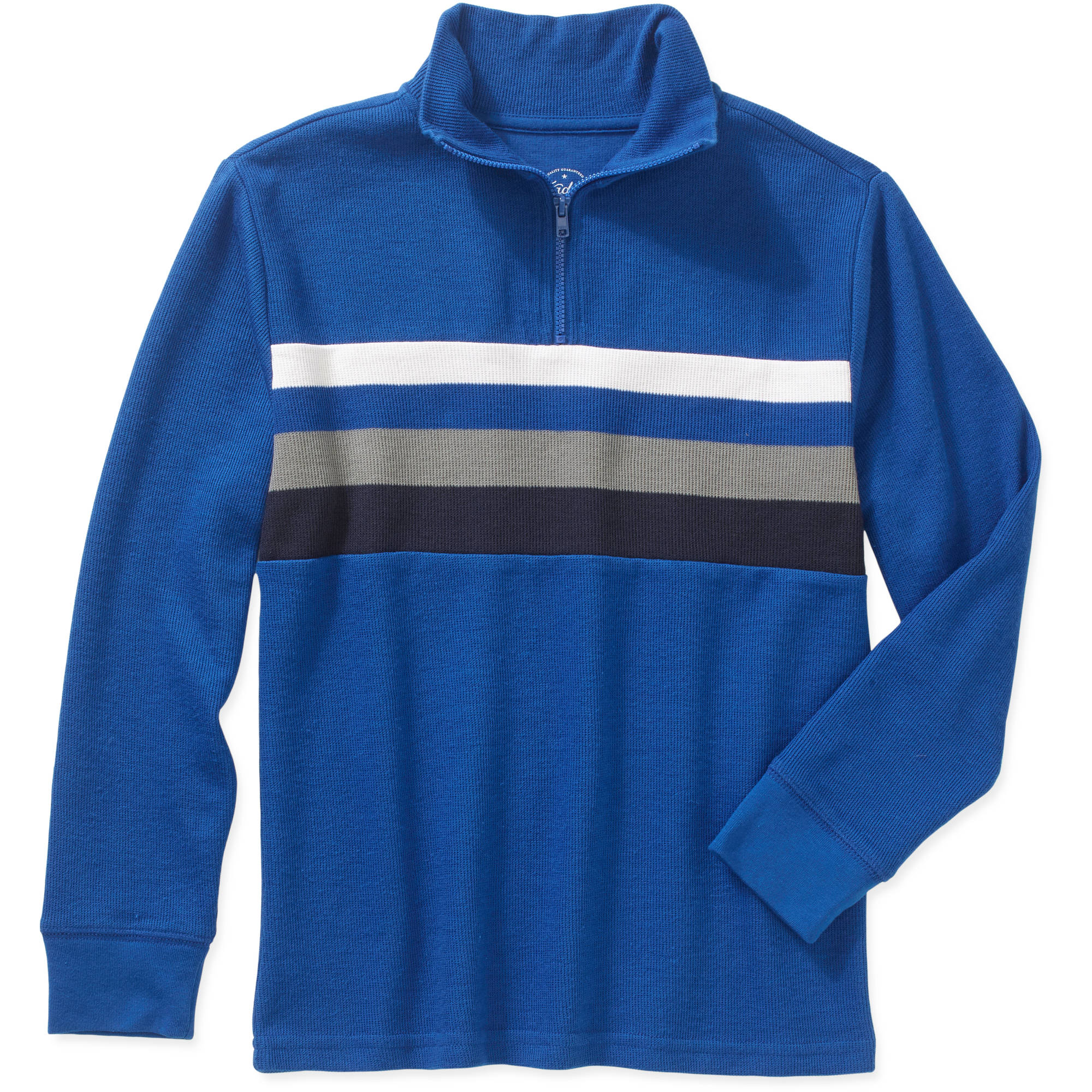 Faded Glory Boys' Quarter Zip Striped Sweater