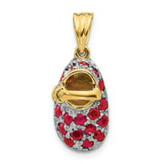Solid 14k Gold & Simulated Ruby Baby Shoe Pendant Charm (9mm x 23mm)