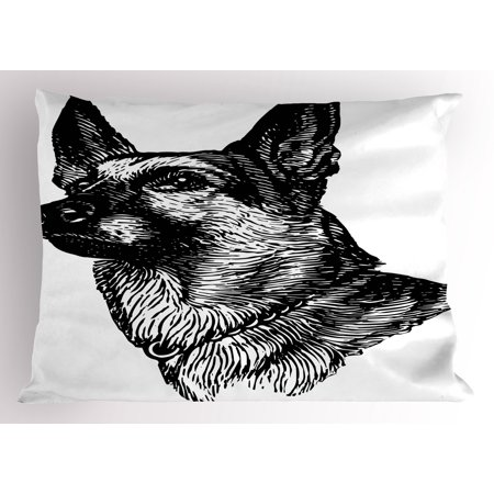 Animal Pillow Sham Pencil Sketchy Image Of Dogs Human Best Friend Guardian Police Animal Artwork  Decorative Standard King Size Printed Pillowcase  36 X 20 Inches  Black And White  By Ambesonne