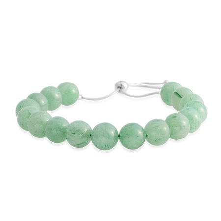 925 Sterling Silver Round Beads Green Aventurine Bolo Bracelet Cttw 121.5