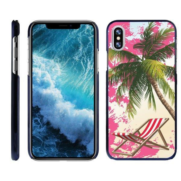 TurtleArmor ® | For Apple iPhone X A1901, A1865 | Apple iPhone 10 [Ultra Slim] Hard Protector Clip On Case Cover with Blue Edges - Coastal Shore
