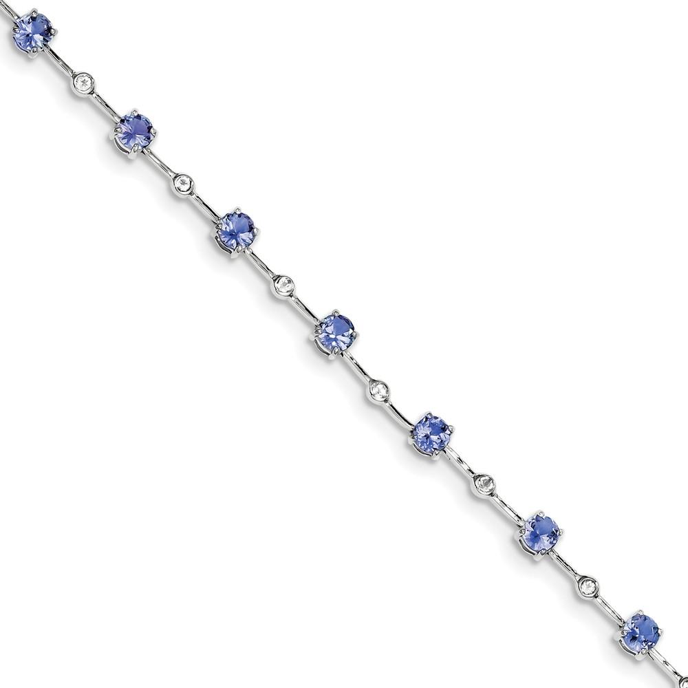 Sterling Silver Tanzanite and White Topaz Bracelet 3.10 cwt by Jewelryweb