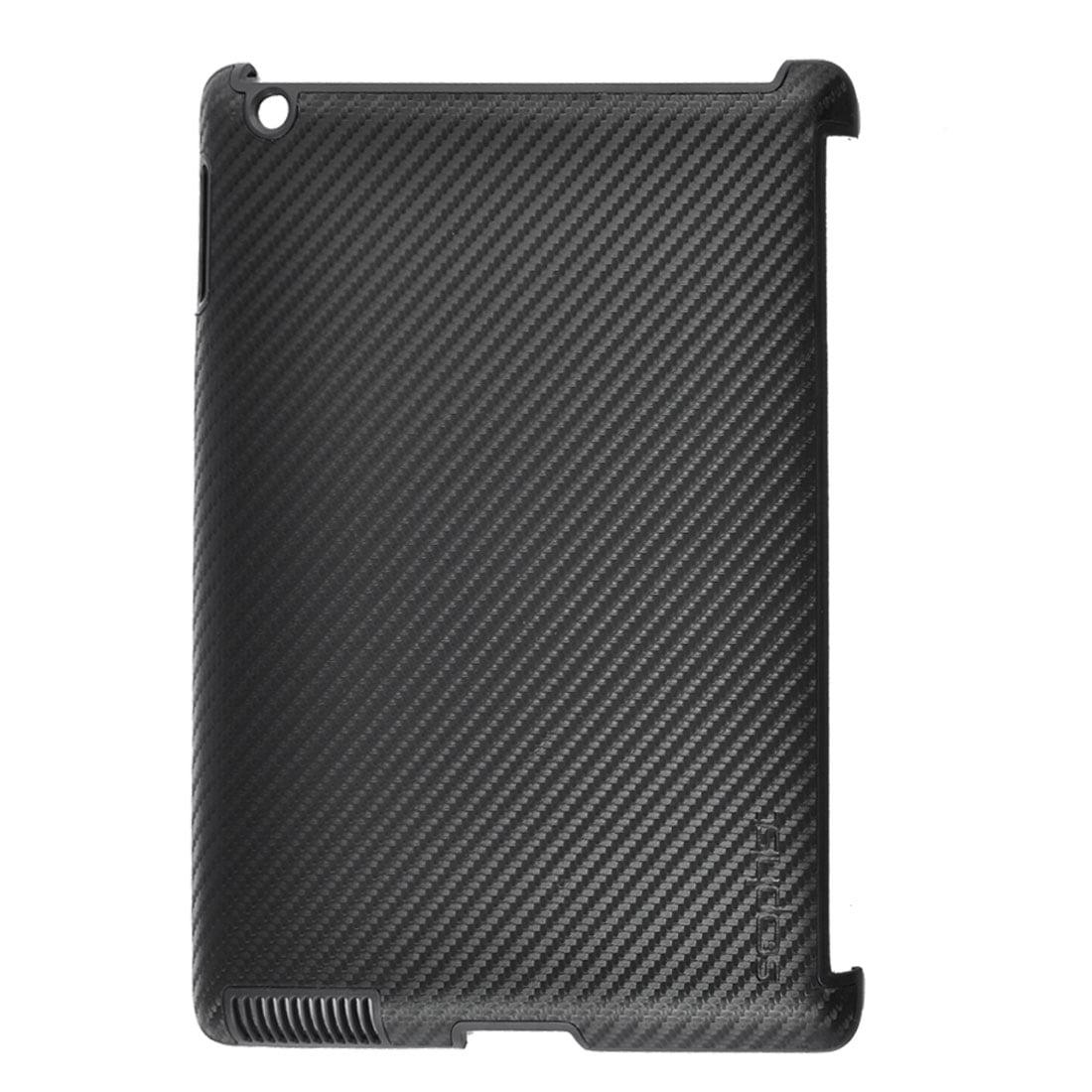 Carbon Fiber Pattern Black Hard Back Cover Case Shell for Apple iPad 2