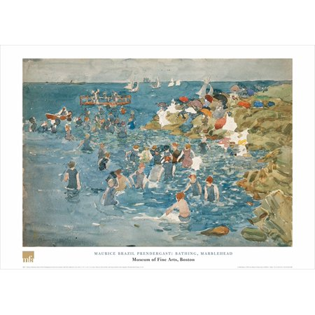 Bathing, Marblehead Maurice Brazil Prendergast 19.6875 X 27.5625 Art Print Poster..., By Museum of Fine Arts Boston MFA Ship from -