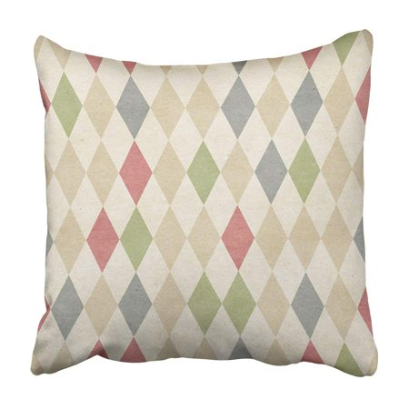 - WOPOP Beige Circus Retro Harlequin Colorful Vintage Old Diamond Coffee Argyle Sweater Pillowcase 16x16 inch