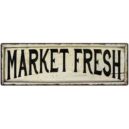 MARKET FRESH Farmhouse Style Wood Look Sign Gift 6x18 Metal Decor 206180028222