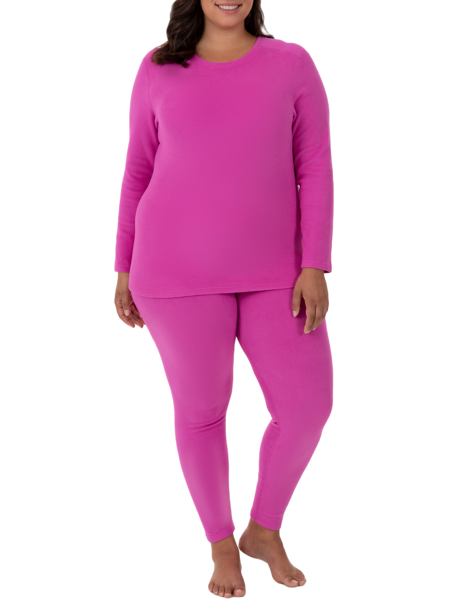 Fit for Me by Fruit of the Loom Women's Plus Size Stretch Fleece Thermal Top and Pant Set