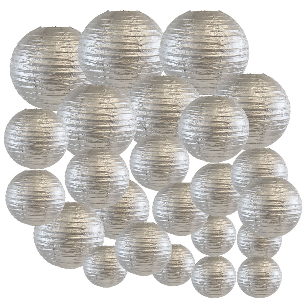 Just Artifacts Decorative Round Chinese Paper Lanterns 24pcs Assorted Sizes (Color: Silver)