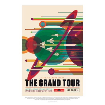 NASA/JPL: Visions Of The Future - Grand Tour Space Planet Fantasy Travel Advertisement Poster Wall Art