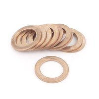 Uxcell 16mmx24mmx1.5mm Copper Flat Washer Ring Line Seal Fasteners (10-pack)