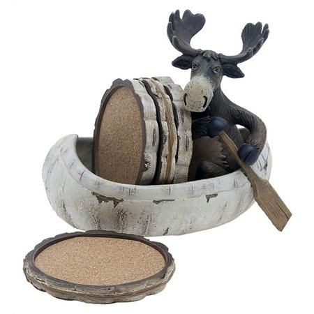 5 Pc Moose & Canoe Resin Beverage Coasters Set