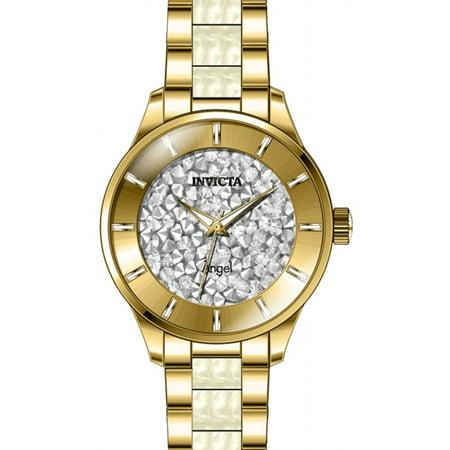 Women's Angel White Steel Bracelet & Case Flame-Fusion Crystal Quartz Analog Watch