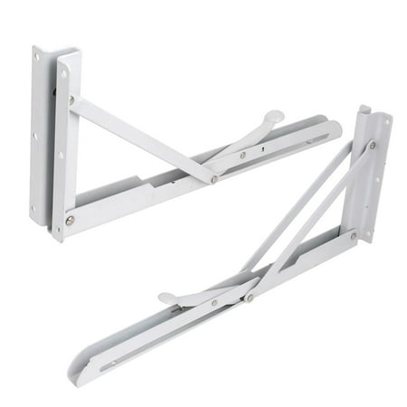 "2 Pcs 14"" Metal Release Catch Support Bench Table Folding Shelf Bracket White - image 5 of 5"