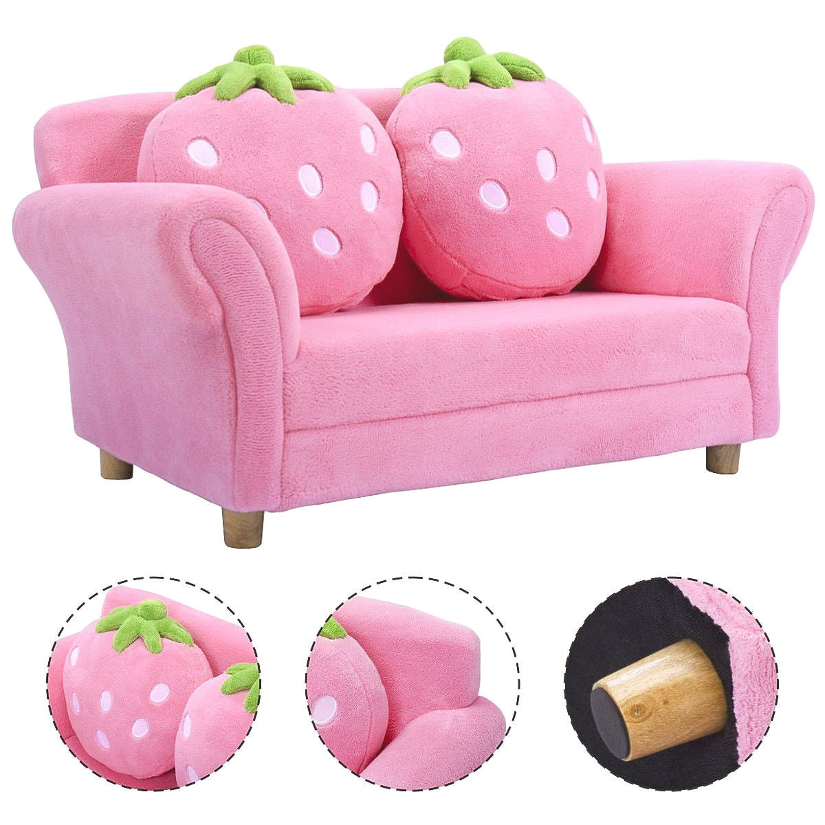 Costway Kids Sofa Strawberry Armrest Chair Lounge Couch W 2 Pillow