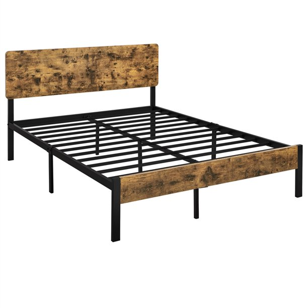 Smilemart Metal Queen Bed With Wooden, Queen Bed Frame With Headboard And Footboard Wood