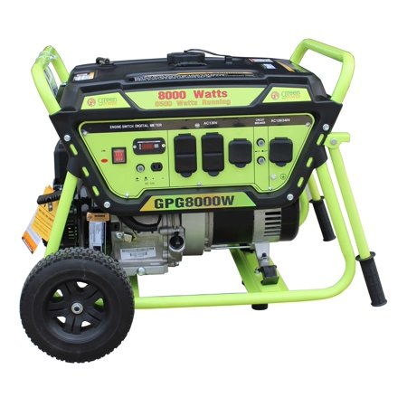 Green-Power America Gas Generator Pro Series GPG8000W delivers 8000 watts of starting power and 6500 watt of continious power.