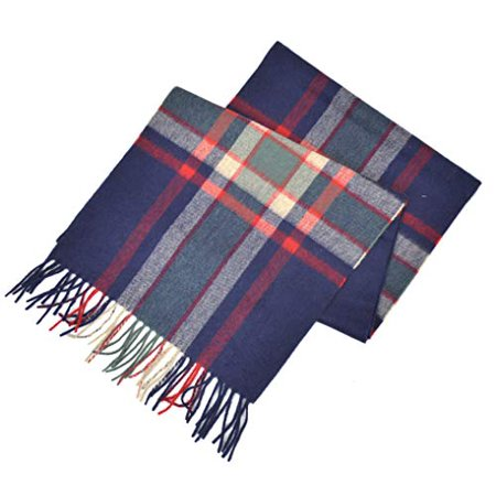 New  Brooks Brothers Men's 100% Cashmere Plaid Rectangle Scarf (Grey/Purple)