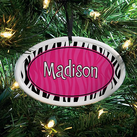 Personalized Pink/Black Zebra Ceramic Oval Christmas Ornament