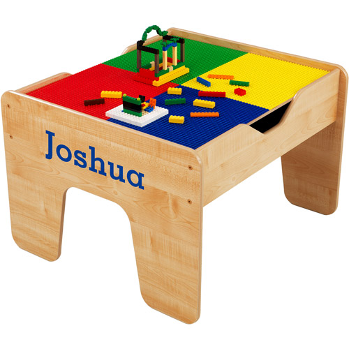 KidKraft - Personalized 2-in-1 Activity Table, Blue Serif Font Boy's Name, Joshua