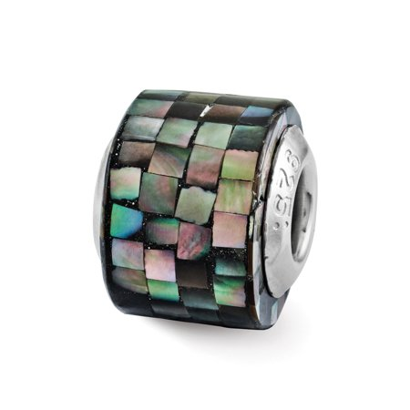 Black Mother of Pearl Mosaic Glass & Sterling Silver Bead - Black Pearl Mosaic