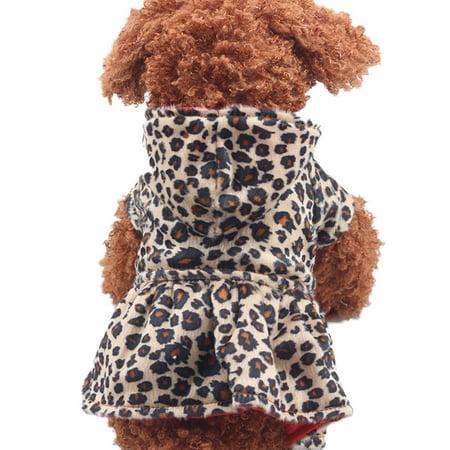 Pet Dogs Leopard Dress Tops Puppy Cotton Hoodie Clothes (Leopard Dog Costume)