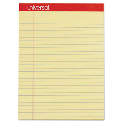 Perforated Edge Writing Pad, Legal/Margin Rule, Letter, Canary, 50 Sheet, Dozen, Sold as 1 Dozen