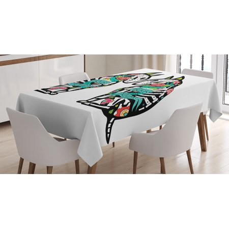 Halloween Decorations Tablecloth, Skeleton Demon Figures Flowers and