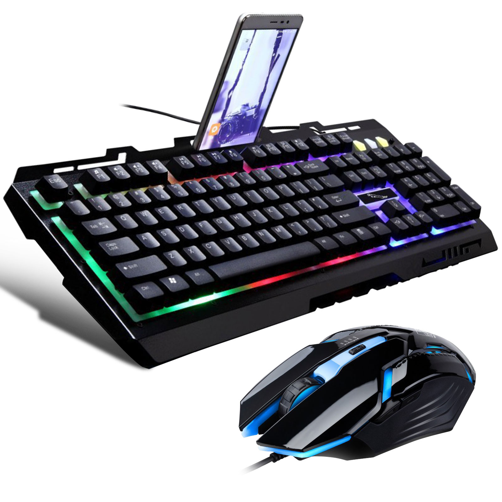 G700 Gaming Keyboard and Mouse Combo,TSV Ergonomic Keyboard with Colorful Backlight and 6 DPI Gaming Mouse,for PC/Gaming/Typing