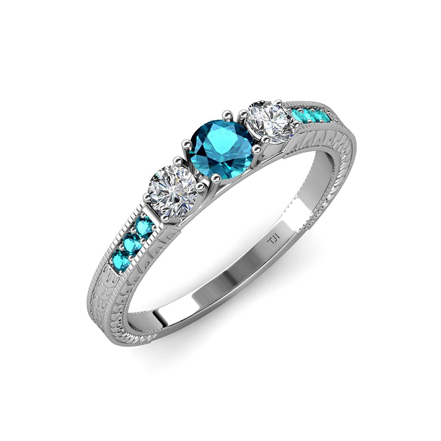 London Blue Topaz and Diamond 3 Stone Ring with Side London Blue Topaz 0.85 ct tw 14K White Gold.size 8.0 by TriJewels