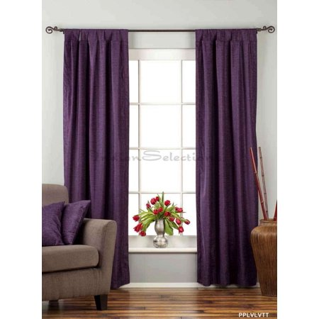 Purple Tab Top  Velvet Curtain / Drape / Panel  - Piece (Purple Velvet Curtains)