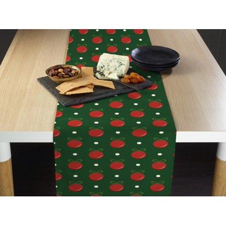 Green Christmas Balls Table Runner 12