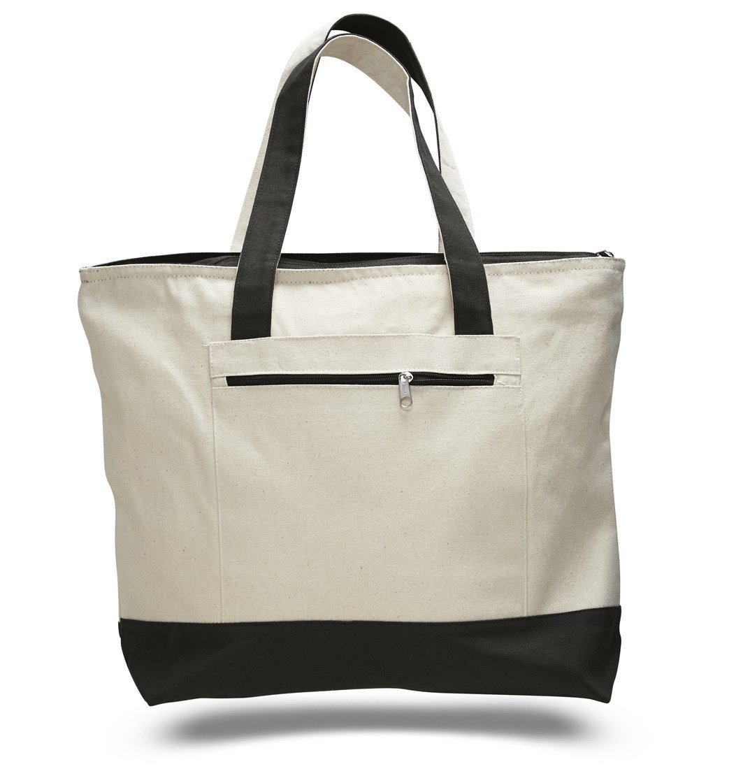 "18"" Stylish Canvas Zippered Tote Bag w/Zipper Front Pocket Pool Beach Shopping Travel Tote Bag Eco-Friendly (Set of 12)"