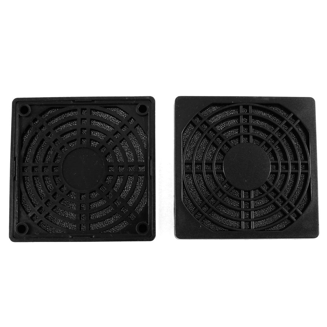 Unique Bargains 2Pcs Computer PC Black Plastic 8.5cm 85mm Fan Filter Dust Guard Mesh