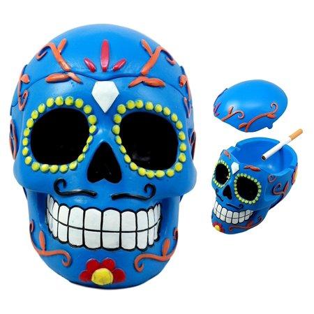 Ebros Dulce De Muerte Day of The Dead Blue Sugar Skull Ashtray Tribal Tattoo Skull Jewelry Box Figurine 6