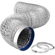 """6 Inch 8 Feet Aluminum Hose for HVAC Ventilation, 6"""" 8ft, Ducting with Vent Ring"""