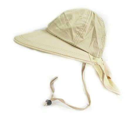 Mens Boating Hiking Vintage Summer Sun Flap Adjustable Wide Brim Cap Bucket Hat (Beige)