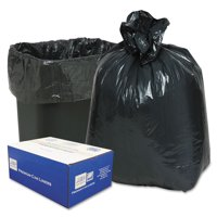 """LINEAR LOW-DENSITY CAN LINERS, 10 GAL, 0.6 MIL, 24"""" X 23"""", BLACK, 500/CARTON"""