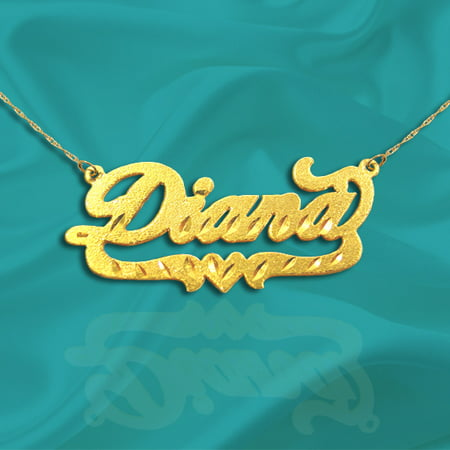 24K Gold Plated Sterling Silver Personalized Name Necklace with Name of Your Choice - Made in - 12 Light 24k Gold Plated