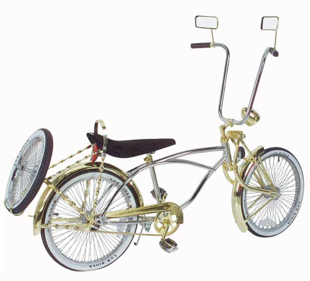 "20"" Premium Lowrider Bike, Chrome & Gold"