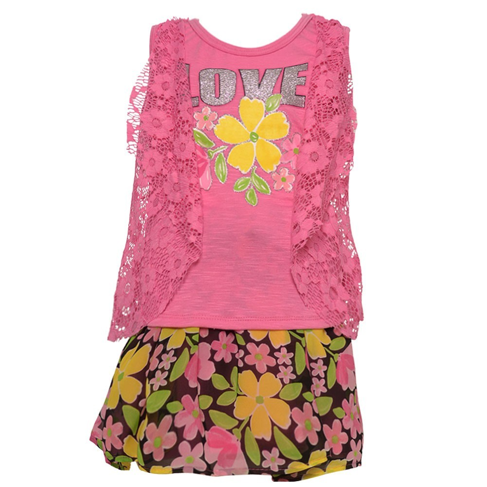 Real Love Little Girls Fuchsia Lace Flower Pattern 2 Pc Skirt Outfit 2T
