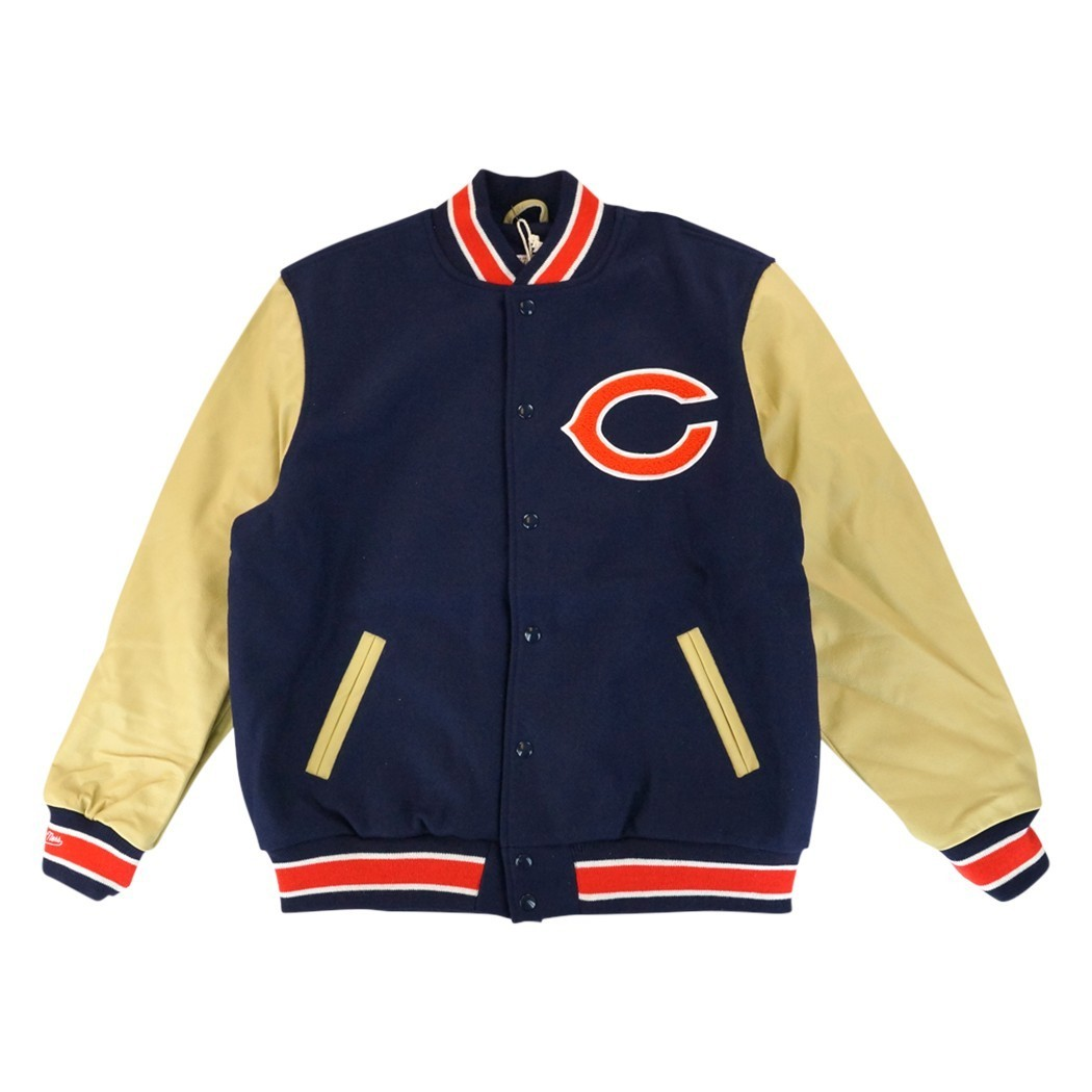 Chicago Bears NFL Mitchell & Ness Navy Blue 1958 Authentic Vintage Wool Leather Varsity Jacket Jacket For Men (M) by Mitchell & Ness